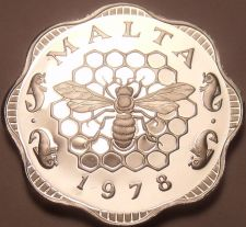 Buy Rare Cameo Proof Malta 1978 3 Mils~Bee And Honeycomb~Only 3,244 Minted~Free Ship