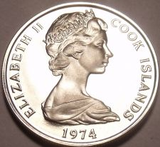 Buy Rare Cameo Proof Cook Islands 1974 5 Cents~Hibiscus~Only 7,300 Minted~Free Ship