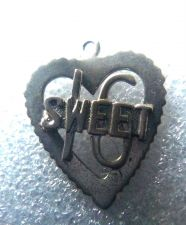 Buy VINTAGE BIRTHDAY CHARM : SWEET 16 / A FAVORITE BIRTHDAY / HEART SHAPED STERLING