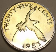 Buy Rare Proof Bermuda 1983 25 Cents~Yellow Billed Tropical Bird~6,474 Minted~Fr/Shi