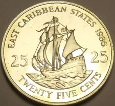 Buy Rare Proof East Caribbean States 1986 25 Cents~2,500 Minted~The Golden Hind~Fr/S