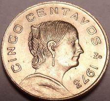 Buy Gem Unc Mexico 1973 5 Centavos~Flat Top 3 Variety~Brass~Free Shipping