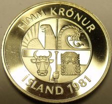 Buy Rare Proof Iceland 1981 5 Kronur~Only 15,000 Minted~Two Dolphins Leaping~Free Sh