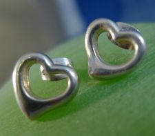 Buy Pierced Post : Sterling 925 Silver Inspired Open Heart