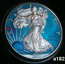 Buy 2015 Toned Silver American Eagle 1oz .999 fine slabed ICG Certified #a182