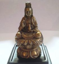 Buy CHINESE COLD CAST BRONZE MINIATURE FIGURE OF KWANYIN GODDESS OF MERCY