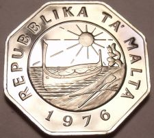 Buy Large Rare Proof Malta 1976 25 Cents~Minted By The Franklin Mint~26k Minted~Fr/S