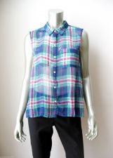 Buy Abercrombie & Fitch NEW Sheer Chiffon Plaids Sleeveless Button Down Shirt L PR