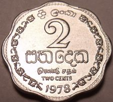 Buy 1978 Gem Unc Sri Lanka 1978 2 Cents~Last Year Ever Minted This Type~Free Ship