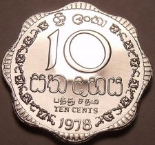 Buy Rare Proof Sri Lanka 1978 10 Cents~Only 20,000 Minted~Scalloped~Free Shipping