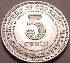 Buy Gem Bu Rare Silver Malaya 1945 5 Cents~King George VI~Free Shipping