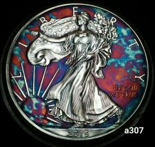 Buy 2015 Rainbow Monster Toned Silver American Eagle 1oz fine with velvet case #a307