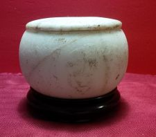 Buy RARE 18TH CENTURY ANTIQUE CHINESE CARVED WHITE MARBLE LIDDED BOWL, QIANLONG MARK