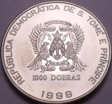 Buy Rare Gem BU Saint Thomas & Prince Island 1998 1,000 Dobras~15,000 Minted~Fr/Ship