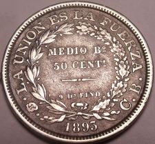 Buy Large Silver Bolivia 1893-CB 50 Centavos~.900 Silver~Free Shipping