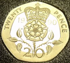 Buy Gem Cameo Proof 1990 Great Britain 20 Pence~Only 100,000 Minted~Free Shipping