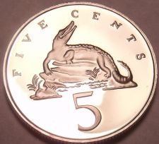 Buy Rare Proof Jamaica 1978 5 Cents~Only 6,058 Minted~American Crocodile~Free Ship