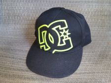 Buy RARE DC Shoes fluorescent Green Logo skateboard fitted hat Size 7