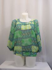 Buy SIZE 20 Top ALFRED DUNNER Green 3/4 Sleeves 3 Button Scoop Neck Geometric Career