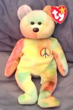 Buy RETRO ORIGINAL TY BEANIE BABY PLUSH PEACE TYE DIE BEAR COLLECTIBLE NICE