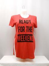 Buy SIZE 19 Juniors Hi Slit Tee Top FREEZE Red Short Sleeves Scoop Neck Graphic