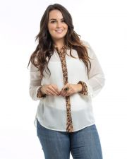 Buy Roman Women's Shirt Plus Size 1X-3X Cheetah Long Sleeves Sheer Chiffon Buttons