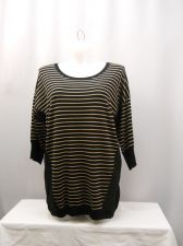 Buy One A Black Striped 3/4 Sleeve Scoop Neck Knit Sweater Plus Size 1X 2X