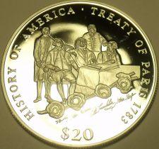 Buy MASSIVE PROOF SILVER LIBERIA 2000 20 DOLLARS~TREATY OF PARIS~20K MINTED~FR/SHIP~