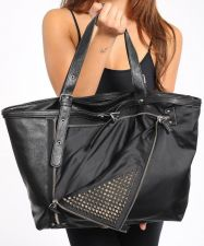 Buy MMS Fashion Black Zipper & Studs Faux Leather Handbag