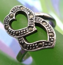 Buy sz 8.5 RING : VINTAGE sterling silver MARCASITE HEART over MARCASITE HEART