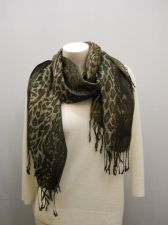 Buy Womens SCARF WRAP SHAWL All Occasion Metallic Cheetah Print Fringed Size 66X28