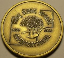 Buy Large 37.5 mm Solid Brass White County Indiana Sesquincentennial Medallion~Fr/Sh