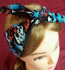 Buy Headband hair wraptie bandanna Flames print men women Handmade
