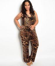 Buy H.B.G.B. Animal Print Cowl Neck Sleeveless Straight Legs Jumpsuit Size 1X-3X