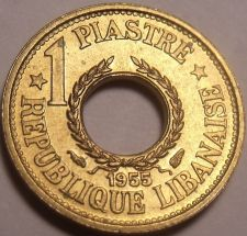 Buy Rare Gem Unc Lebanon 1955-A Piastre~Only Year Ever Minted~Free Shipping
