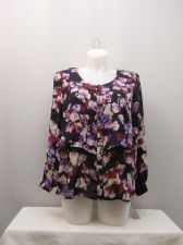Buy Plus Size 1X Top NY Collection Floral Layover Tired Long Sleeve Scoop Neck Butto