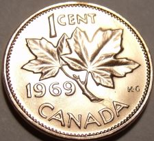 Buy Gem Unc Canada 1969 Cent~Queen Elizabeth II~Maple Leaf~Free Shipping~