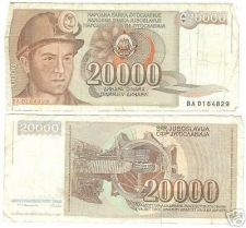 Buy YUGOSLOVIA 20,000 DINERA HIGH DENOMINATION NOTE~FR/SHIP