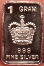 Buy Gem Proof .999 1 Gram Silver Bullion Bar~A Kings Crown~Free Shipping