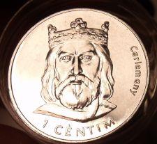 Buy Gem Unc Roll (20 Coins) Large Andorra 2002 1 Centim Coins~Charlemagne~Free Ship~