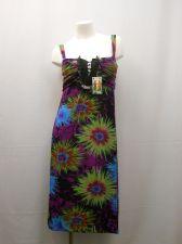 Buy Floral 4 Button Split Neck W/ Ruffle Spaghetti Straps Beach Sundress Size L