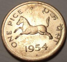 Buy Unc India 1954 Pice~Horse~Equus Caballus Equidae~Awesome~Free Shipping