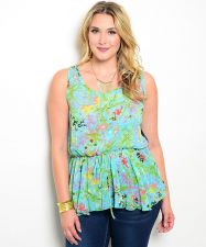 Buy Zenobia Women's Peplum Top Size XL-3XL Floral Mint Black Lace Yoke Sleeveless