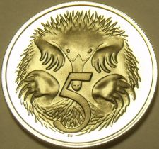 Buy Rare Proof Australia 1975 5 Cents~Echidna~23,000 Minted~Free Shipping
