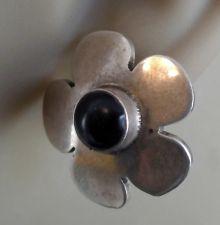 Buy Post Earrings : Sterling Silver & Onyx Flower