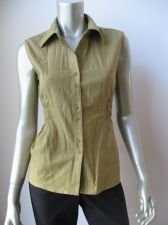 Buy MG Originals NEW Olive Linen Gathered Waist Sleeveless Button Down Shirt L PR