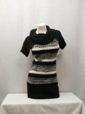 Buy No Boundaries Junior's Tunic Sweater Size S Striped Marilyn Neck Short Sleeves