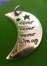 Buy Inspirational Sterling Charm / Pendant - Never Never Never Give Up - Fat Fetched
