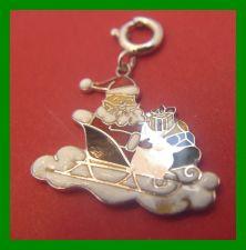 Buy vintage CHRISTMAS Wells Sterling HOLIDAY CHARM Enamel Santa Claus in His Sleigh