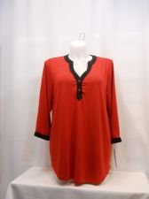 Buy PLUS SIZE 3X Knit Top ELEMENTZ Red Black 3/4 Sleeves 2 Button V Neck Pullover